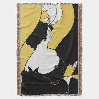Vintage Art Nouveau, Woman Reading a Yellow Book Throw Blanket