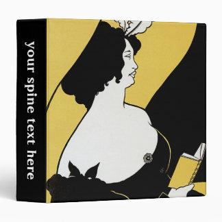 Vintage Art Nouveau, Woman Reading a Yellow Book Vinyl Binder
