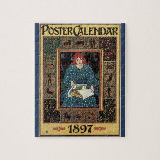 Vintage Art Nouveau, Woman Reading Astrology Book Jigsaw Puzzle