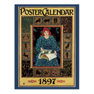 Vintage Art Nouveau, Woman Reading Astrology Book Postcard