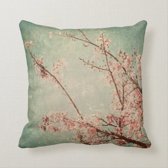 Vintage art painting worn retro green peach beige throw pillow