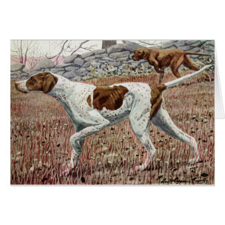 Vintage Art - Pointers in the Field, Card