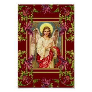 Vintage Art Poster Angel Floral Religious