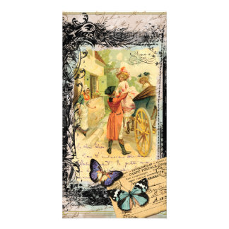 Vintage Art Print 18th Century Couple Carriage Personalized Photo Card