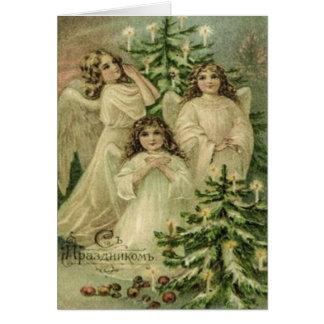 Vintage Art Russian Christmas Angels Card