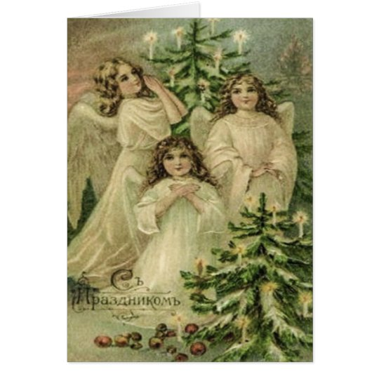 Vintage Art Russian Christmas Angels Card