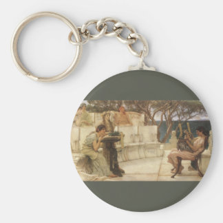 Vintage Art, Sappho and Alcaeus by Alma Tadema Basic Round Button Keychain