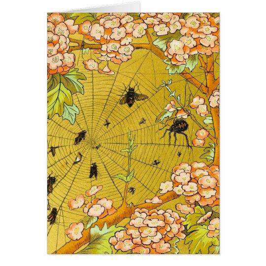 Vintage Art Spider web in flowering tree Card