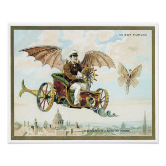 vintage art steam punk flying machines poster