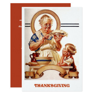 Vintage Art Thanksgiving Dinner Invitations