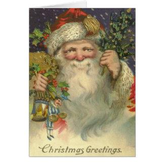 Vintage Art Victorian Santa Christmas Card