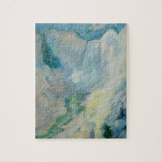 Vintage Art, Waterfall in Yellowstone by Twachtman Jigsaw Puzzle