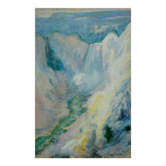 Vintage Art, Waterfall in Yellowstone by Twachtman Poster