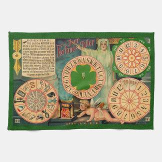 Vintage Art wheels of fortune telling board - love Kitchen Towel