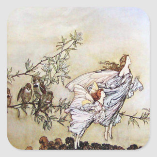 Vintage Arthur Rackham Fairies Square Sticker