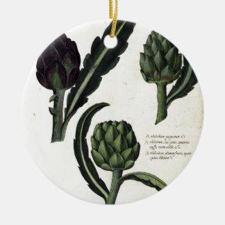 Vintage Artichoke Botanical Print Ceramic Ornament