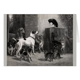 Vintage Artwork - A Gathering of Animals, Card