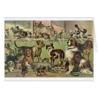 Vintage Artwork - A Gathering of Dogs, Card