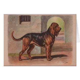 Vintage Artwork - Bloodhound Dog, Card