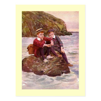 Vintage Artwork featuring Boys sitting on a Rock i Postcard