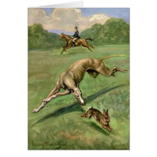 Vintage Artwork - Greyhound Chasing a Rabbit, Card