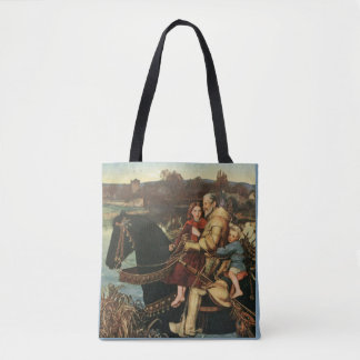 Vintage Artwork Man - Kids Riding Black Horse Tote Bag