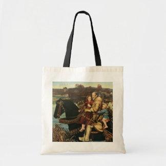 Vintage Artwork Man - Kids Riding Horse Tote Bag