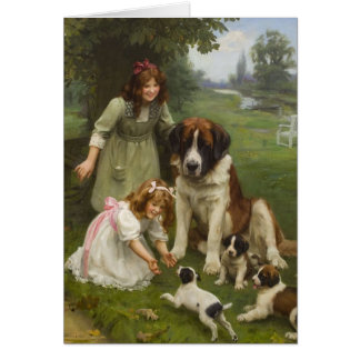 Vintage Artwork - Playing in the Park, Card