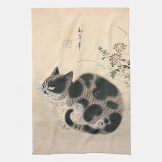 Vintage Asian Cat Kitchen Towel