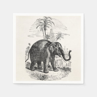 Vintage Asian Elephant Personalized Elephants Disposable Napkin