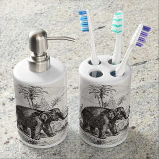 Vintage Asian Elephant Personalized Elephants Soap Dispenser And Toothbrush Holder