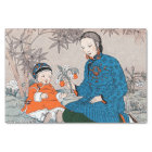 Vintage Asian Mother Baby Flowers Mother's Day Tissue Paper