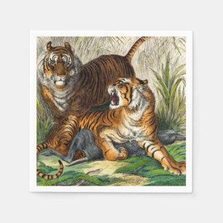 Vintage Asian Striped Fierce Tiger Disposable Napkin