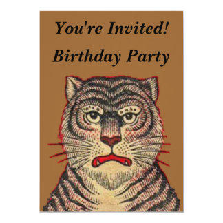 Vintage Asian Tiger Birthday Card