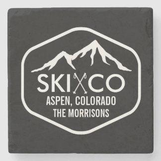 Vintage Aspen Colorado Ski Mountain Custom Drink Stone Coaster