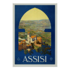Vintage Assisi, Italy Travel Poster