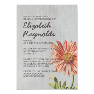 Vintage Aster Bridal Shower Invitations