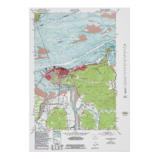 Vintage Astoria Oregon Topographical Map Poster