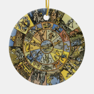 Vintage Astrology, Renaisance Zodiac Wheel, 1555 Ceramic Ornament