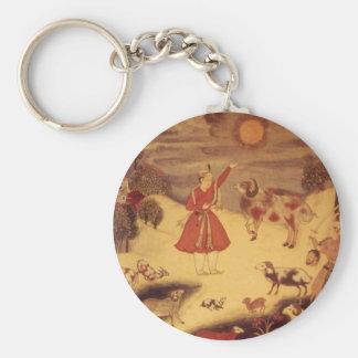 Vintage Astronomy, Antique Asian Celestial Art Basic Round Button Keychain