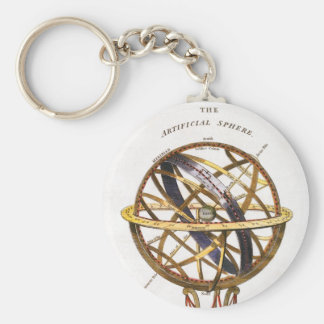 Vintage Astronomy, Artificial Sphere, Earth, Globe Basic Round Button Keychain