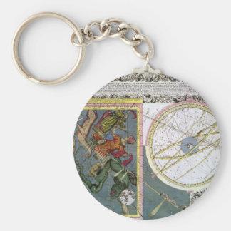 Vintage Astronomy Celestial by Matthaeus Seutter Basic Round Button Keychain