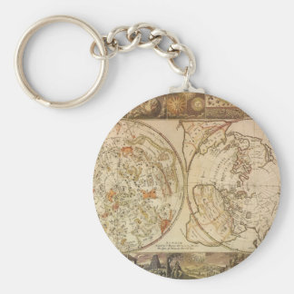 Vintage Astronomy, Celestial Planisphere Map Basic Round Button Keychain