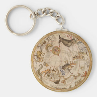 Vintage Astronomy, Celestial Planisphere Star Map Basic Round Button Keychain