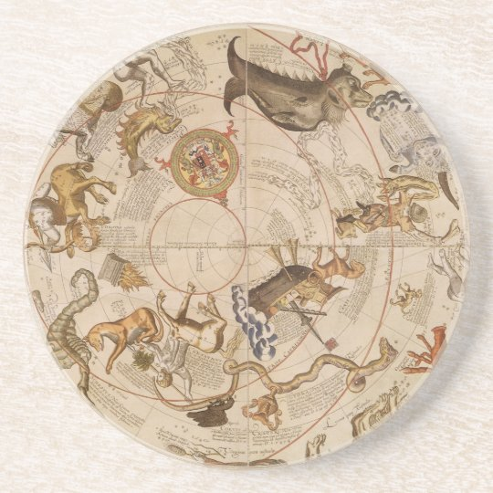 Vintage Astronomy, Celestial Planisphere Star Map Coaster