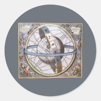 Vintage Astronomy, Celestial Planisphere Zodiac Classic Round Sticker