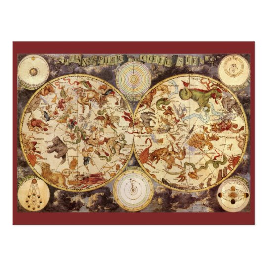 Vintage Astronomy Constellations, Frederik de Wit Postcard