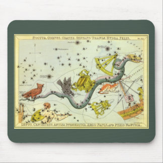 Vintage Astronomy, Hydra Snake Constellation Stars Mouse Pad