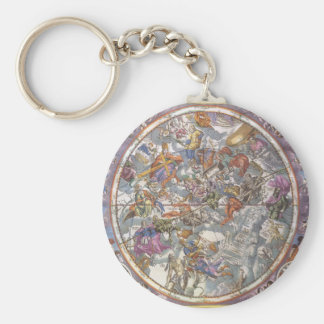 Vintage Astronomy, Map of Christian Constellations Basic Round Button Keychain