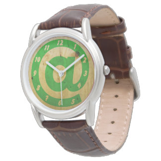 Vintage at sign Wood Clock Watches